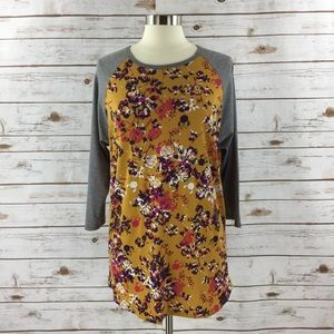 LuLaRoe Randy Raglan Rose Minnie Mouse Print Top